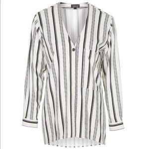 Topshop Stripe V-Neck Shirt